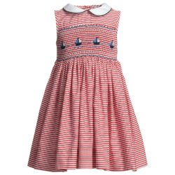 1. Girls red and white stripe cotton dress from Annafie.