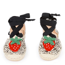 4. Maison Mangostan Strawberry open leather rope-soled sandals.