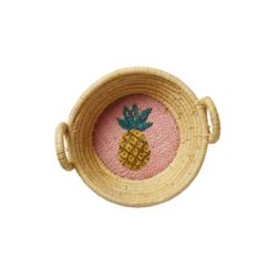 6. Fabulous yellow mini raffia basket with a beautiful hand embroidered pineapple.