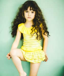 Yellow ruffle swimsuit by Japan kids fashion brand Green Label Relaxing by United Arrows