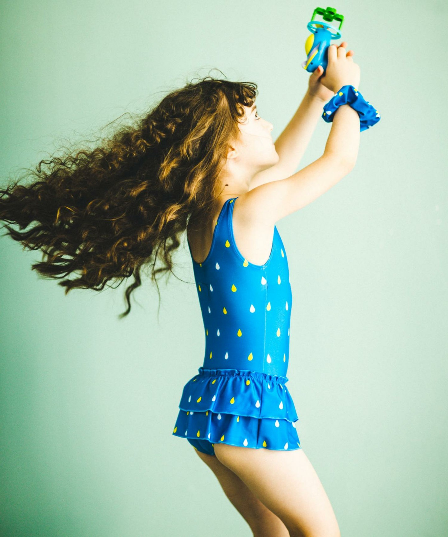 Blue Suzuku ruffle kids swimsuit by Japanese kids fashion brand Green Label Relaxing by United Arrows