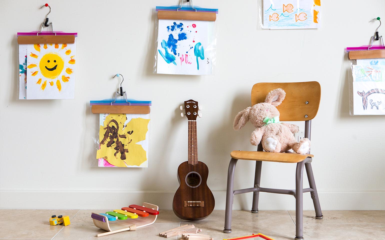 10 unusual and clever ideas to display your childrens art