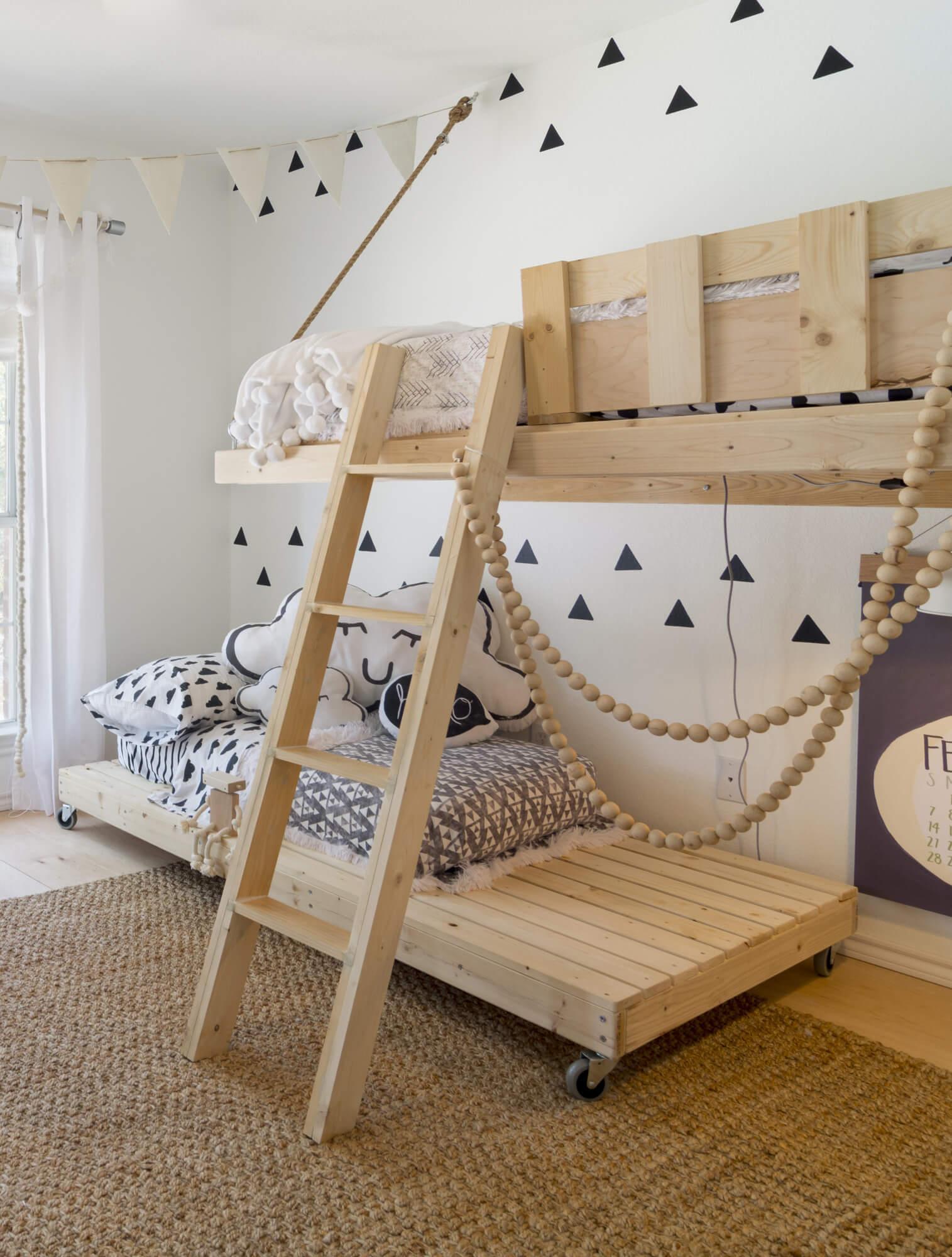wooden bunk bed childrens room