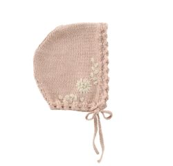 knitted baby bonnet embroidered