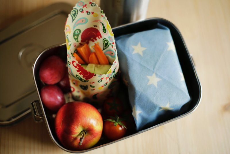 Wrap snacks and lunches in paper or beeswax wraps