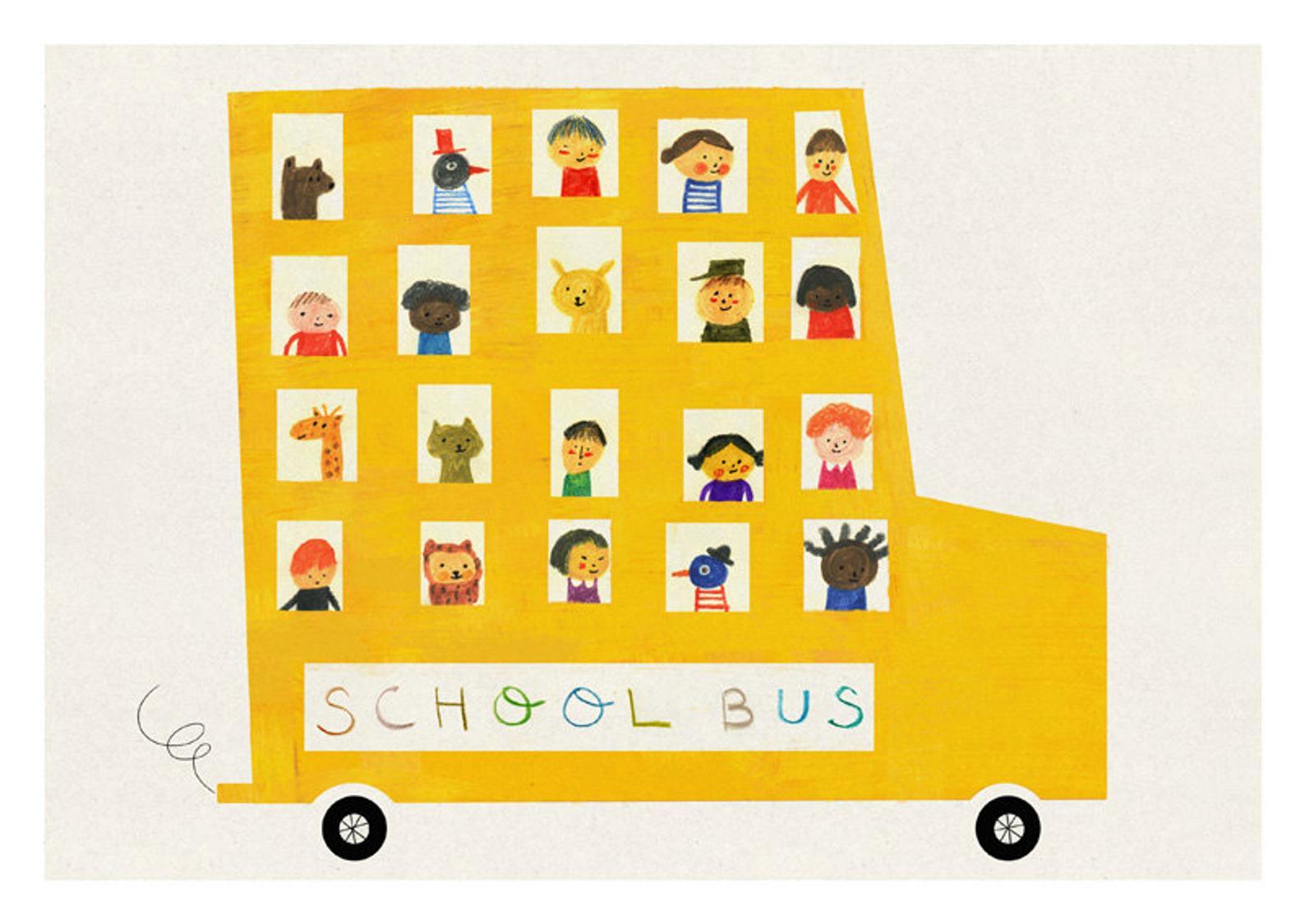school bus print