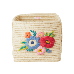 raffia storage basket flowers